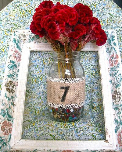 Pinwheel centerpiece Burlap Mason Jar Vase