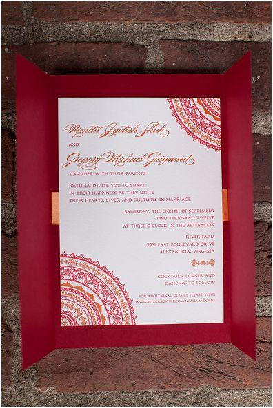 letterpress hindu inspired invitations
